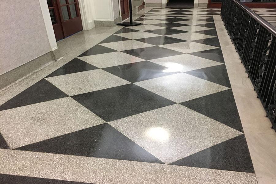 terrazzo flooring tile in black and white