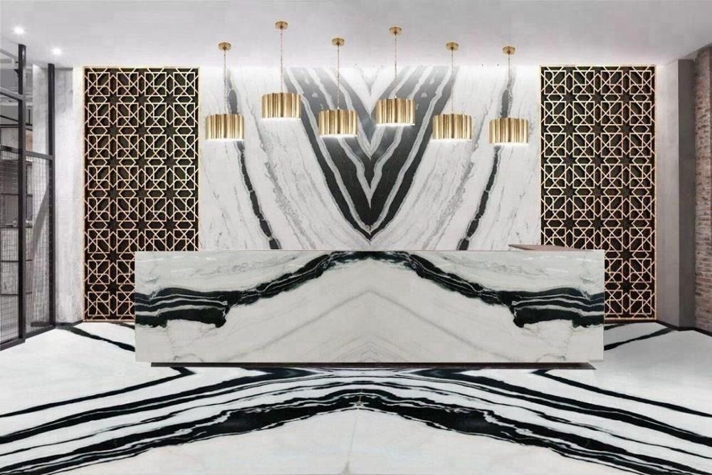 Panda White Marble for Reception Counter ,Floor and Wall