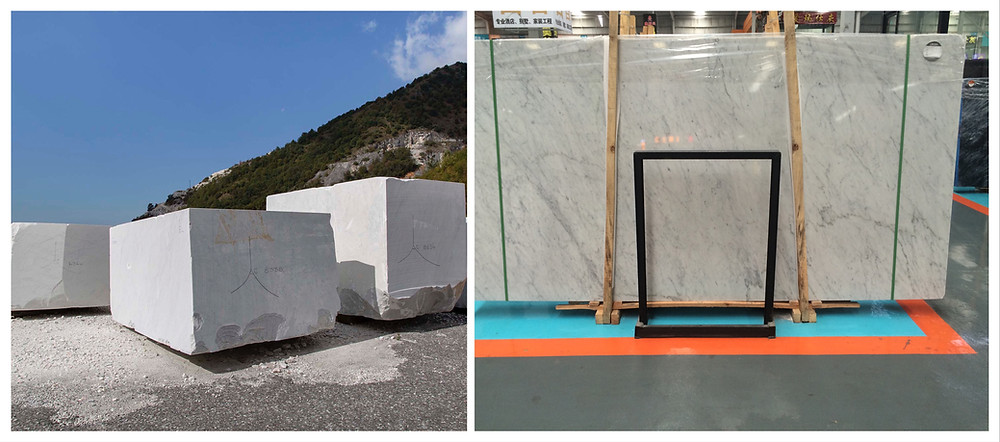 white marble blocks in quarry and carrara marble slabs