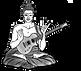 Sitzender Rock´n Roll Buddha mit einer meditierenden Hand und einer Rock´n Roll Hand mit einer Gibson Les Paul Gitarre, Guitar Buddha, Guitar Buddhism, Gitarren Buddha, representiert Gitarrenunterricht 1220 Wien, Gitarrenunterricht Wien, Gitarrenworkshops, Gitarren Anfängerkurs Wien,Gitarrenschule Wien © Mario Dancso