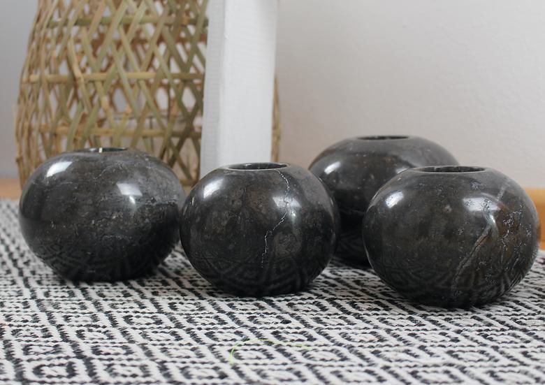 Teelicht Marmor schwarz rund