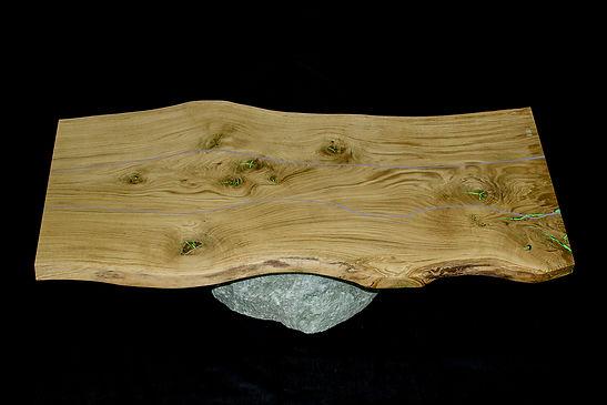 Table basse bois massif pierre resine epoxy