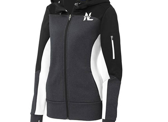 LADIES COLORBLOCK HOODED FULL ZIP JACKET