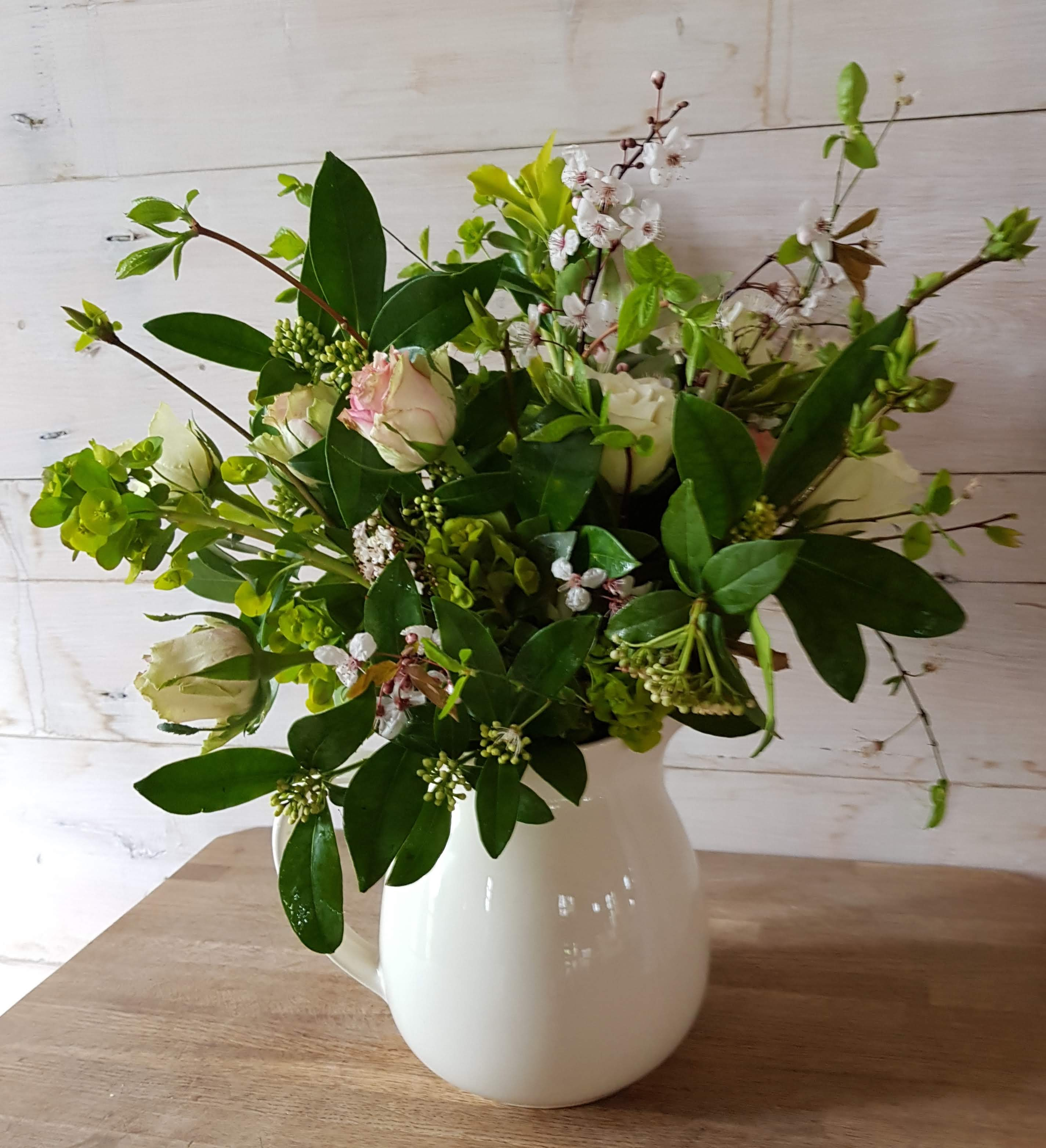 Vintage Jug of flowers £45.  A selection of vintage jugs are available and can be filled with flower