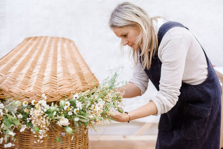 Dried Flower Garlands start from £45 per foot. An average of 16ft is needed to cover the compolete casket