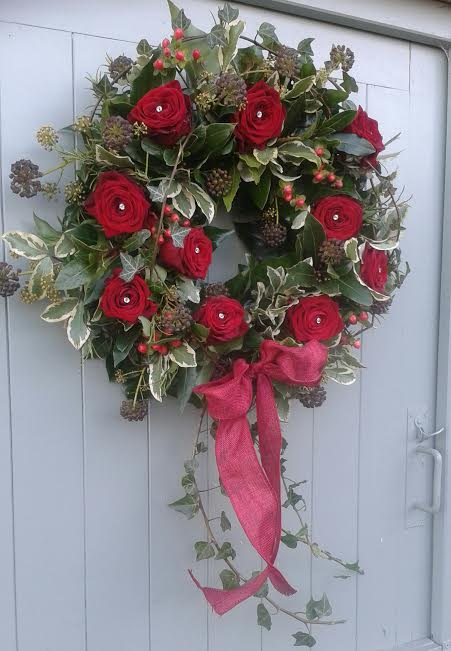 Luxury Red rose wreath £75