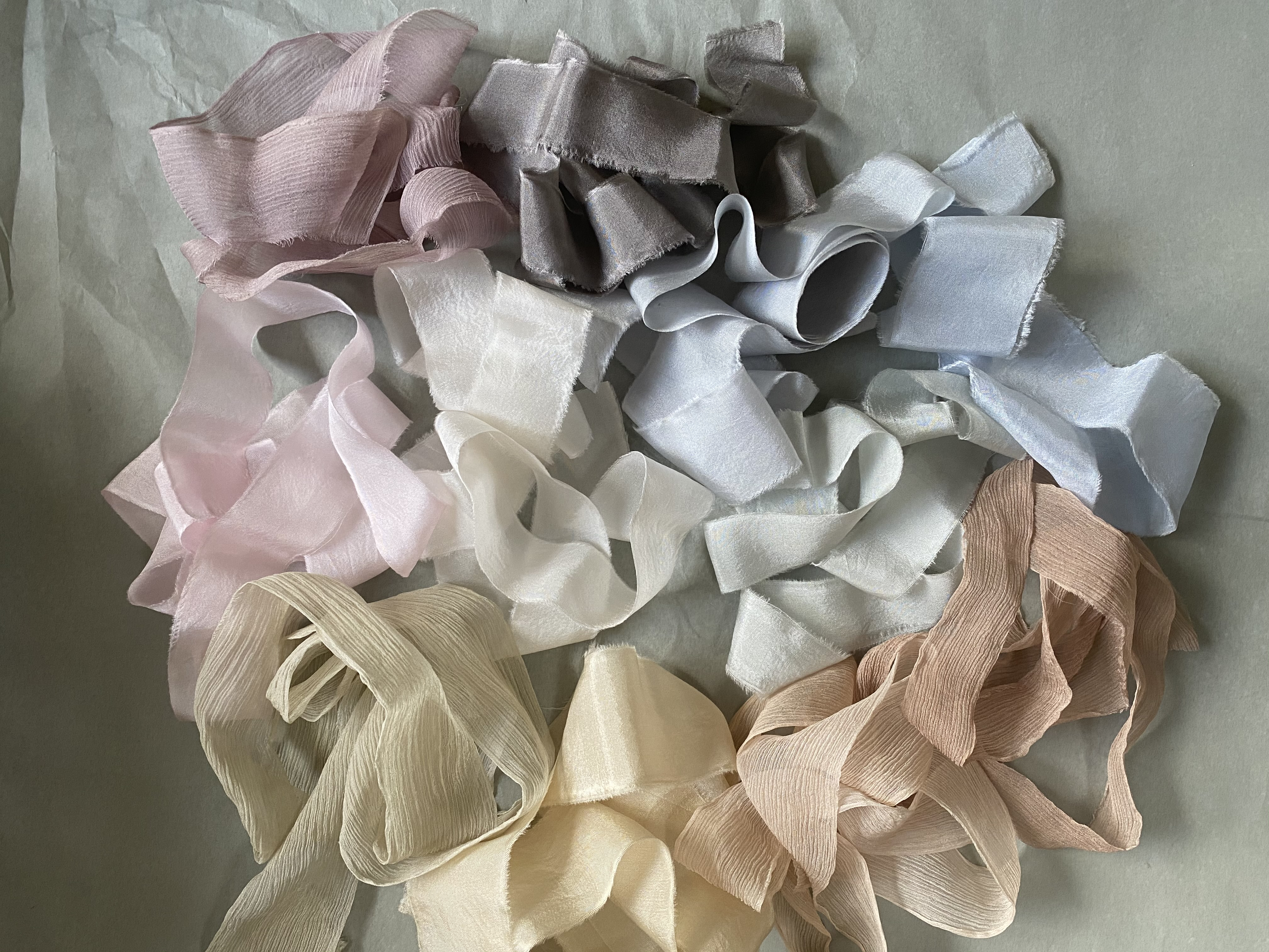 Botanically hand dyed silk ribbons to add luxury to your flowers