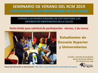 Seminario de Verano del Recinto de Ciencias Médicas 2019 - ¡Atención estudiantes de 9,10,11 y 12