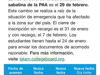 Cambio de fecha para prueba del College Board (PAA) febrero 2020