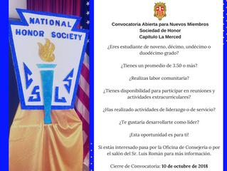 Convocatoria Sociedad de Honor, Capítulo La Merced