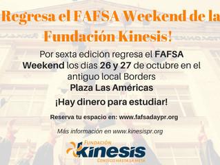 FAFSA WEEKEND- 26 Y 27 DE OCTUBRE DE 2018 ¡No te lo pierdas!