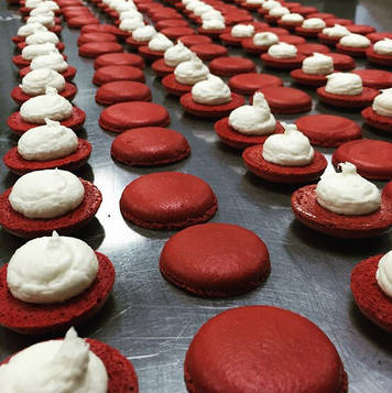 Red Velvet macarons with cream cheese filling