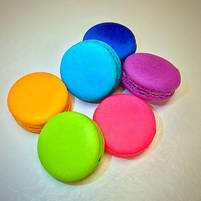 Smooth, bright and full French macarons.