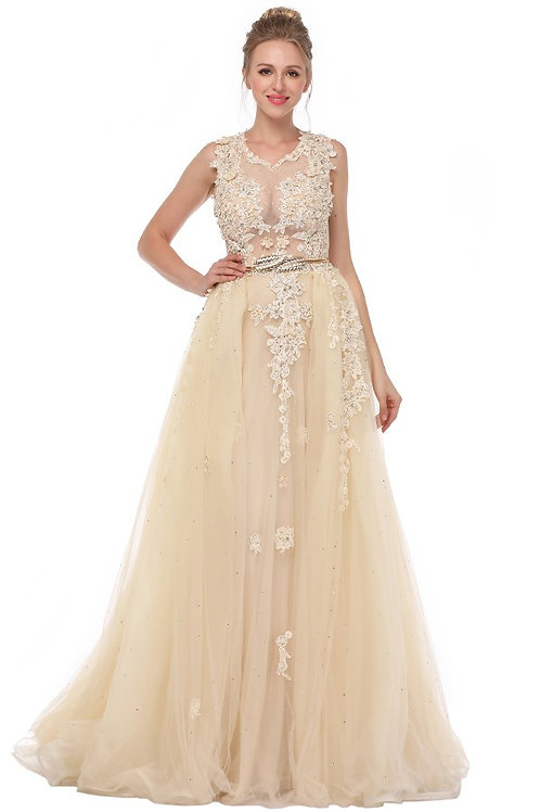 Embroidered Metal Waist Band A Line Gown