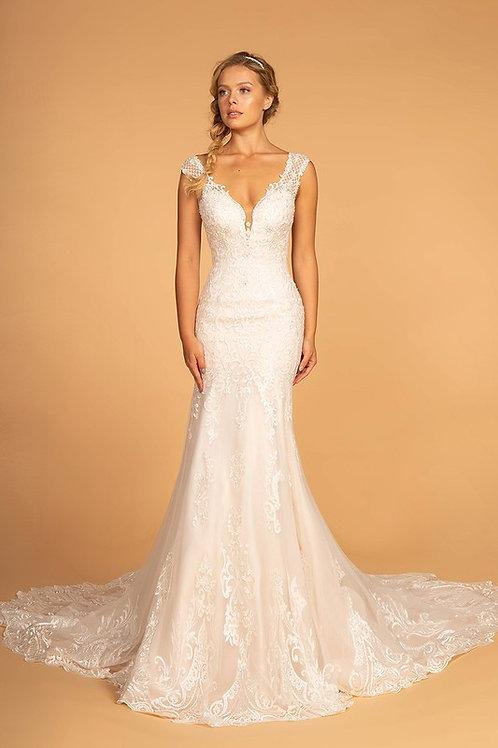 GLS95 V Neck Lace Gown
