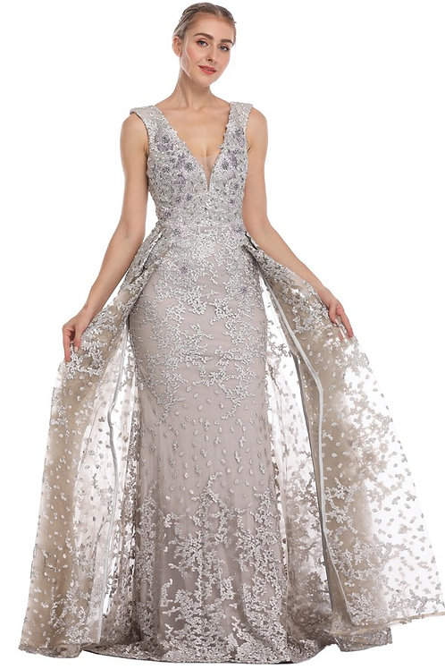 V-Neck Pearl & Beaded Skirt Accent Gown