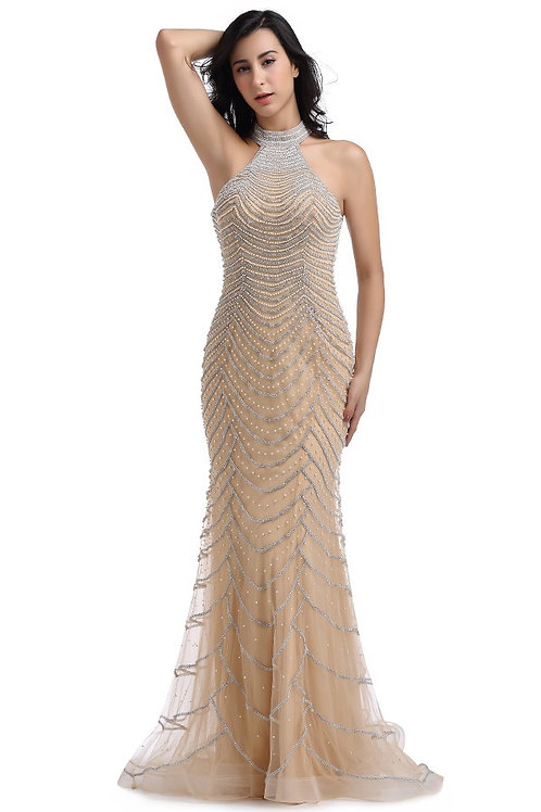 High Neck Jewel/Pearl Detail Gown