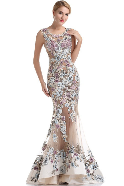 Embroidered Illusion Fishtail Gown