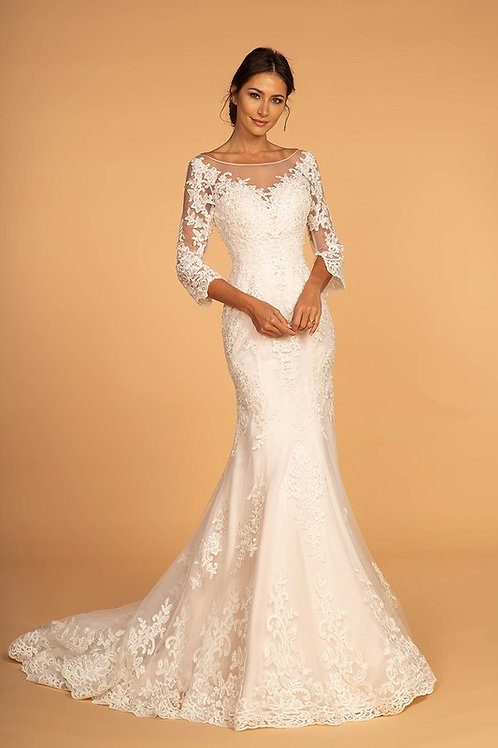 GLS92 3/4 Sleeve Lace Gown