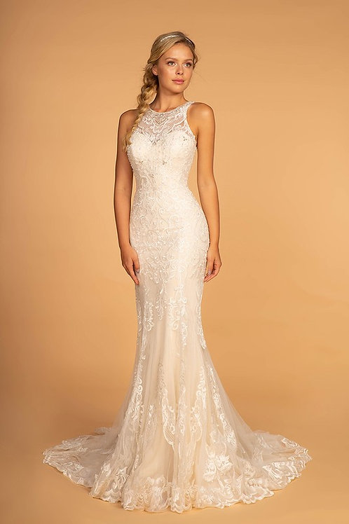 GLS97 High Neck Lace Gown