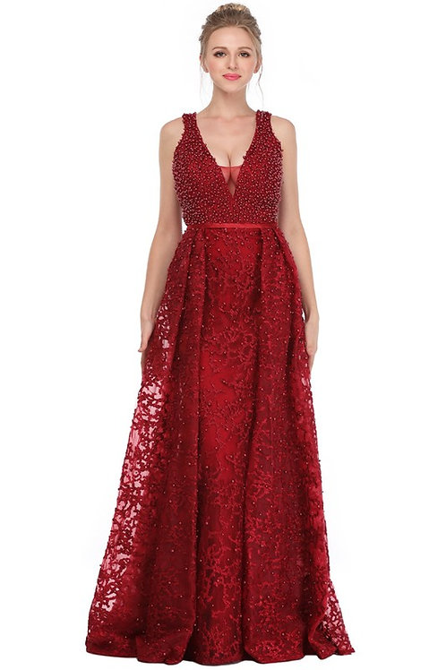 Illusion Deep V neck Pearl A Line Gown