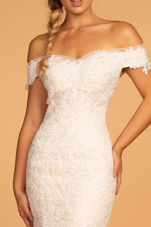 GLS94 Off The Shoulder Sweetheart Lace Gown