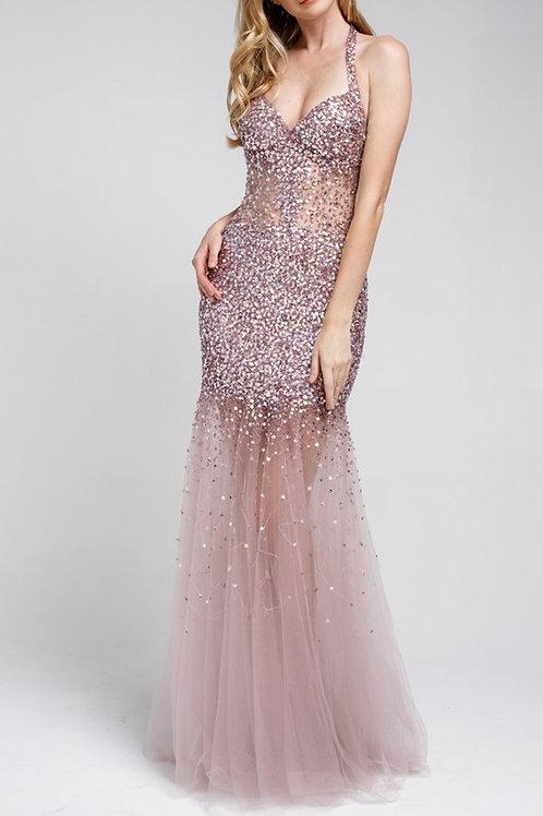 BabyFox590 Halter Sequin Gown