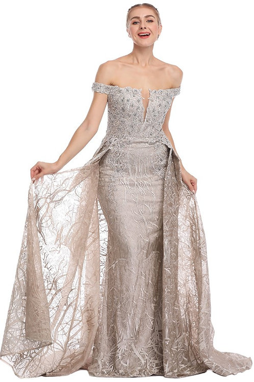 Embroidered Applique Pearl & Beaded Accent Gown