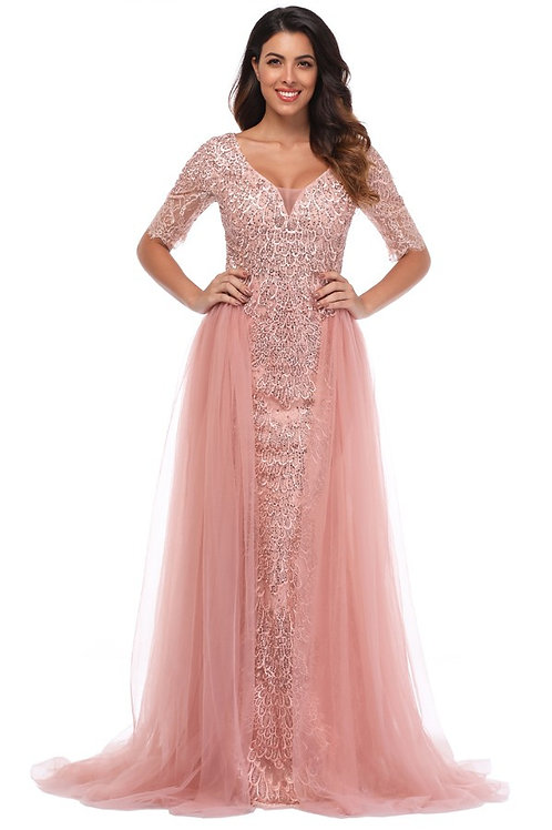 Embroidered Gown With Tulle Skirt Accent