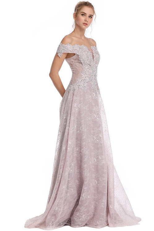 Off The Shoulder Embroidered Illusion V Gown
