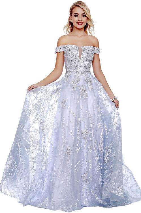 Off The Shoulder Embroidered A Line Illusion Neckline Dress