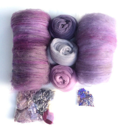 Feltmaking Inspiration Pack in Shades of Mauve and Grey