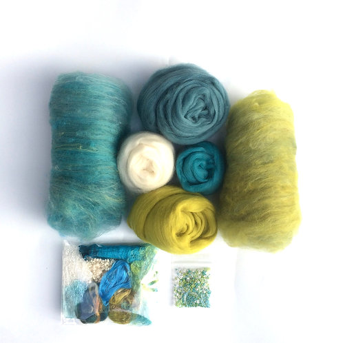 Feltmaking Inspiration Pack in Lime/Teal/Cream/Turquoise
