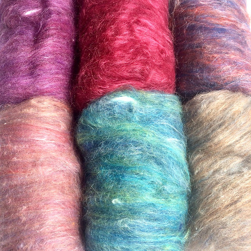 Six Colour Pack of Merino/Silk Mix Batts with silk decoration pack