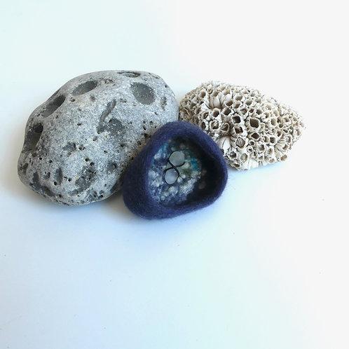 Rockpool  Brooch in Blue Grey felt with Seaglass