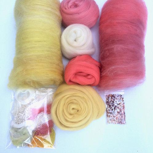 Feltmaking Inspiration Pack Pastel Lemon/Coral/Cream