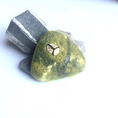 Green Pebble Brooch with small shell embellishment