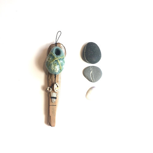 Pod Hanging on Driftwood  in Duck Egg  with Green/White Silk decoration