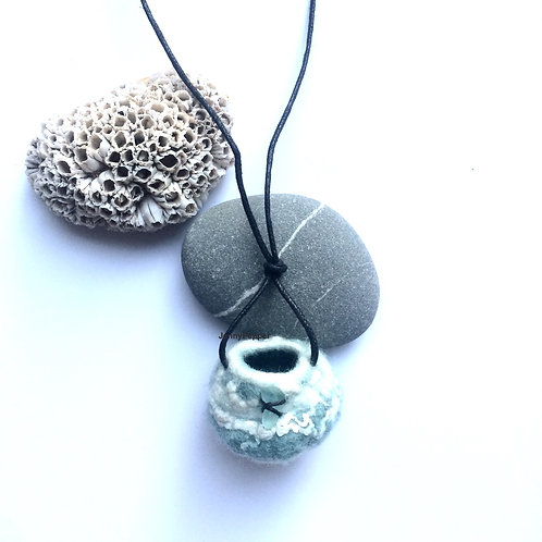 Puffball Necklace in Duck Egg Colour