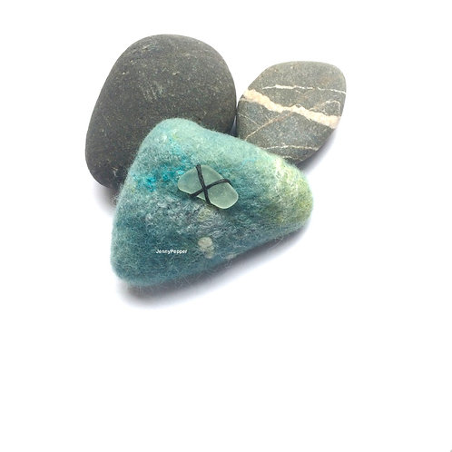 Pebble Brooch with Sea glass embellishment in Shades of Duck Egg