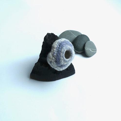 Miniature Blue Grey Pod on Charred Driftwood