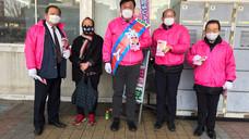 亀有駅頭にて区政報告
