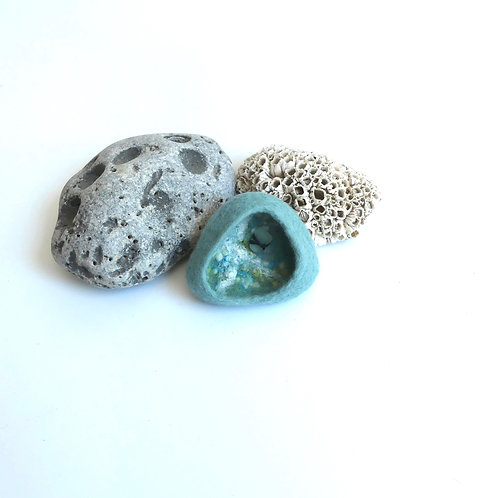 Rockpool  Brooch in Duck Egg felt with Seaglass