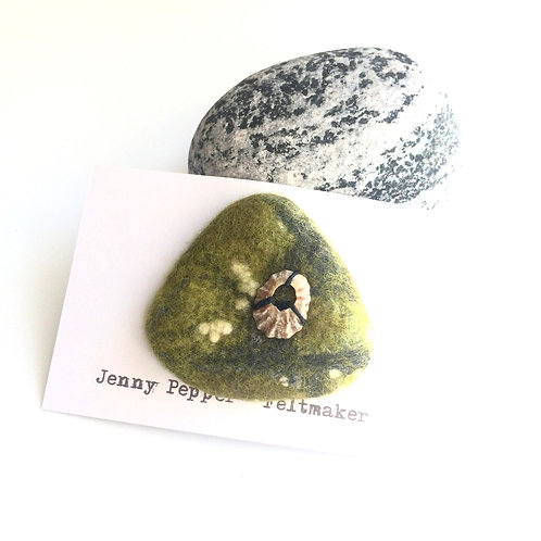Green Pebble Brooch with medium size shell embellishment