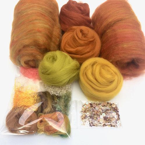 Feltmaking Inspiration Pack Rusts/Green Autumnal