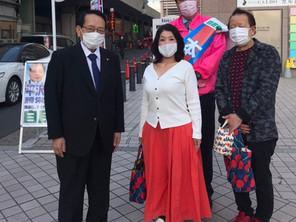 金町駅にて区政報告