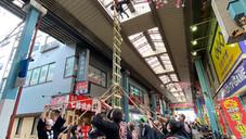 新春恒例の梯子乗りが開催。