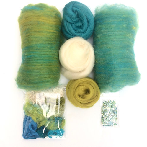 Feltmaking inspiration Pack Sea Greens/Turquoise