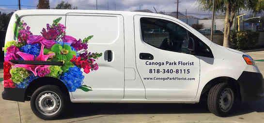 Partial wrap for a florist van in Canoga Park