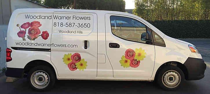 Partial wrap for a florist van in Woodland Hills